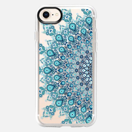 turquoise lace boho mandala on clear background - Snap Case