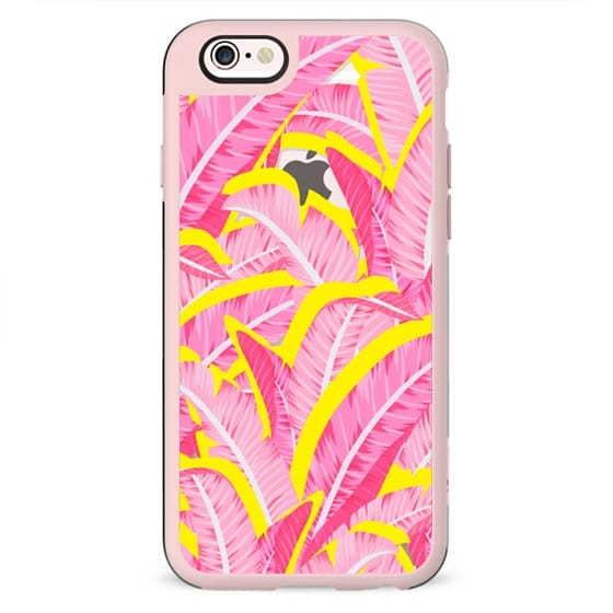 Pink banana leaf pattern with yellow on clear background