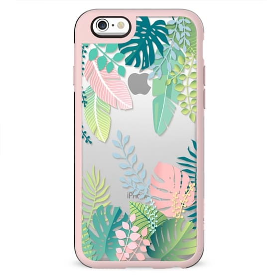 Pastel jungle floral / tropical leaves pattern