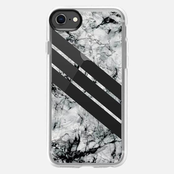 Transparent stripes on black and white marble - matching your adidas - - Snap Case