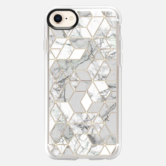 White marble hexagons minimal geometry in gold frame lines - Snap Case
