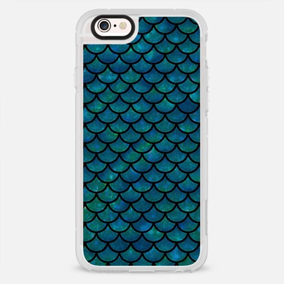 Mermaid scales iridescent shimmer sparkle on black - New Standard Case