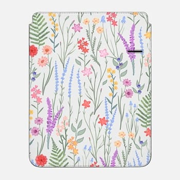 "iPad Pro 12.9"" Sleeve the meadow / floral watercolor illustration pattern on clear background"