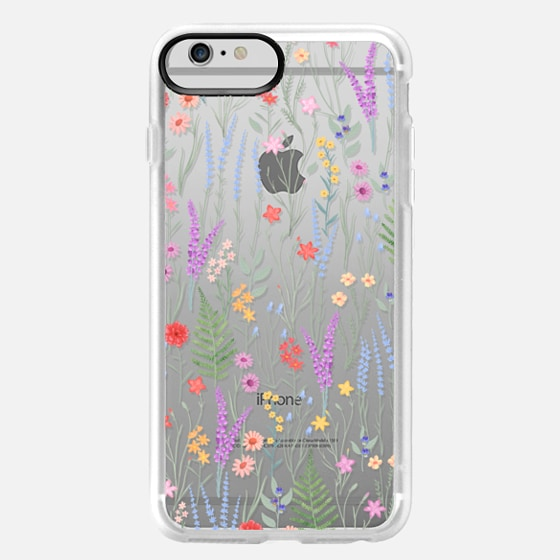 iPhone 6 Plus Case - the meadow / floral watercolor illustration pattern on clear background