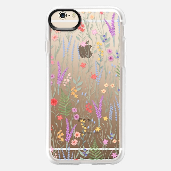 iPhone 6 Case - the meadow / floral watercolor illustration pattern on clear background