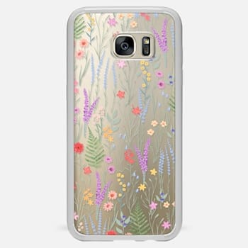 Samsung Galaxy S7 Edge Case the meadow / floral watercolor illustration pattern on clear background