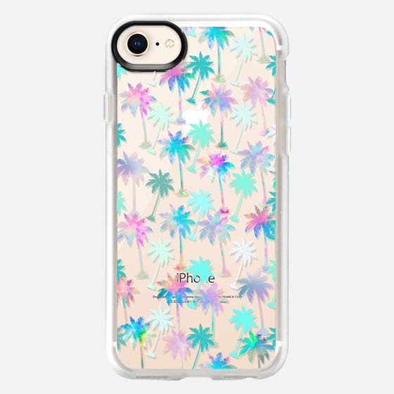 Palm tree pattern ( rainbow watercolor painting) - Snap Case