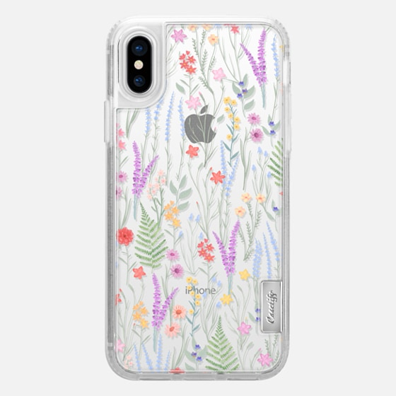 iPhone X Hülle - the meadow / floral watercolor illustration pattern on clear background