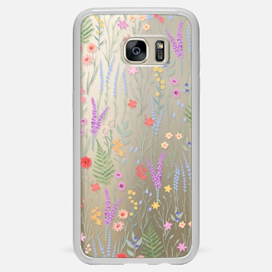 Galaxy S7 Edge ケース - the meadow / floral watercolor illustration pattern on clear background
