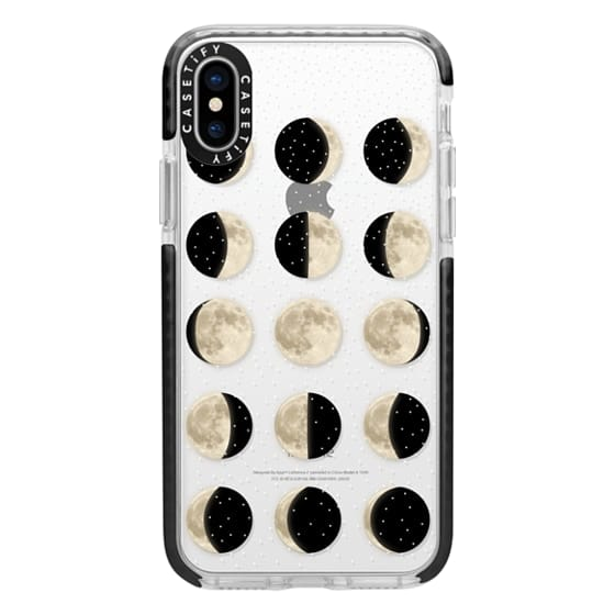 iPhone X Cases - Moon Phases on a stary transparent background / shiny moon on black