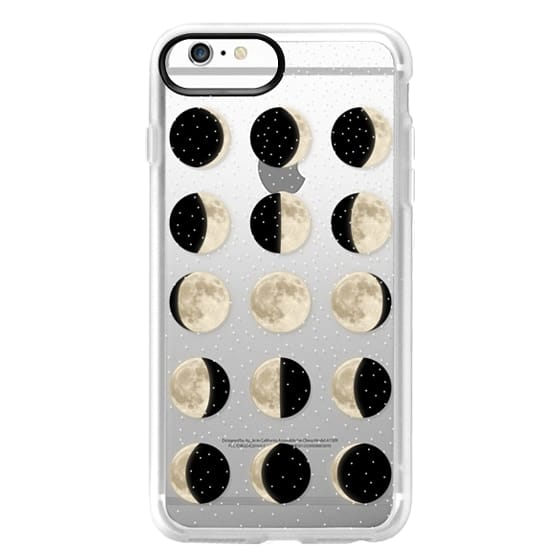 iPhone 6s Plus Cases - Moon Phases on a stary transparent background / shiny moon on black