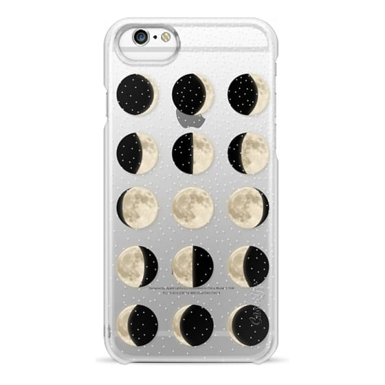 iPhone 6s Cases - Moon Phases on a stary transparent background / shiny moon on black