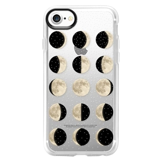 iPhone 7 Cases - Moon Phases on a stary transparent background / shiny moon on black