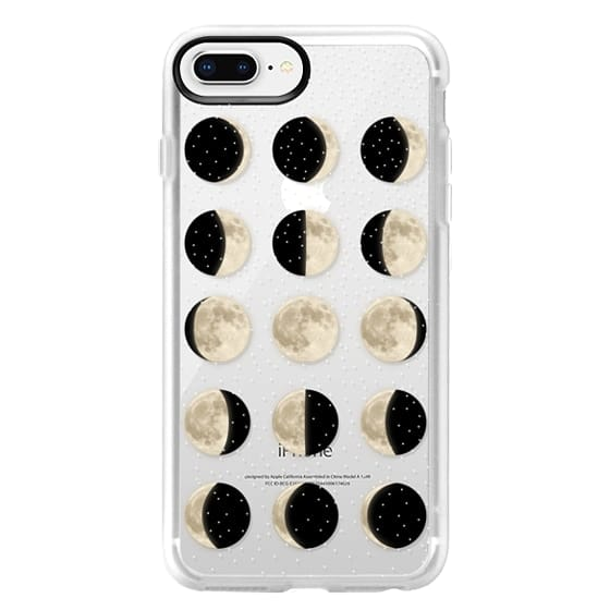 iPhone 8 Plus Cases - Moon Phases on a stary transparent background / shiny moon on black