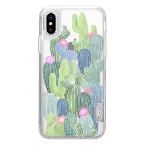 sports shoes 77f55 db00f Classic Grip iPhone X Case - Watercolor Cactus pattern / cacti on  transparent background
