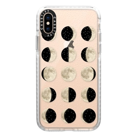 iPhone XS Cases - Moon Phases on a stary transparent background / shiny moon on black
