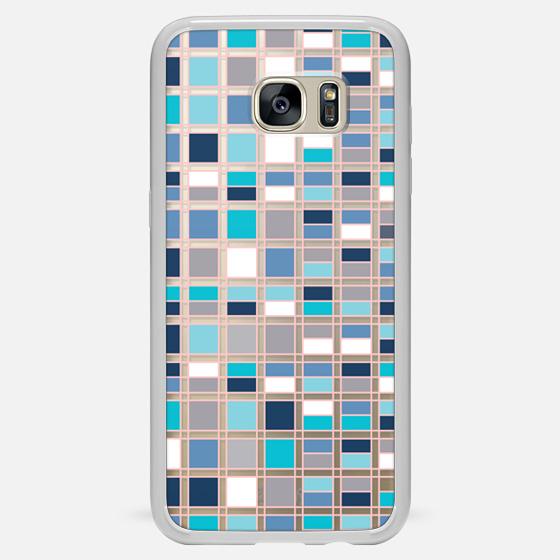 Galaxy S7 Edge Case - Blue grid 2