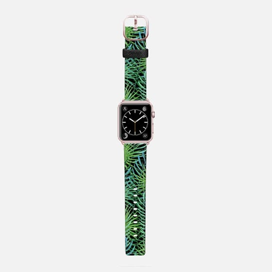 Green tropical leaf pattern on black - Saffiano Leather Watch Band