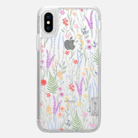 iPhone X Capa - the meadow / floral watercolor illustration pattern on clear background
