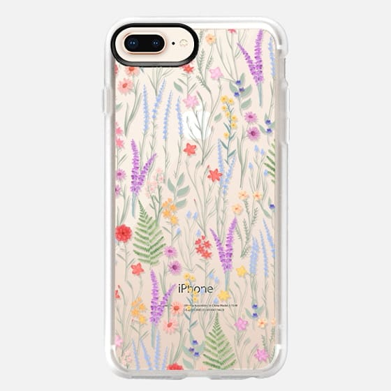 iPhone 8 Plus 保護殼 - the meadow / floral watercolor illustration pattern on clear background