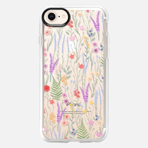iPhone 8 Case - the meadow / floral watercolor illustration pattern on clear background