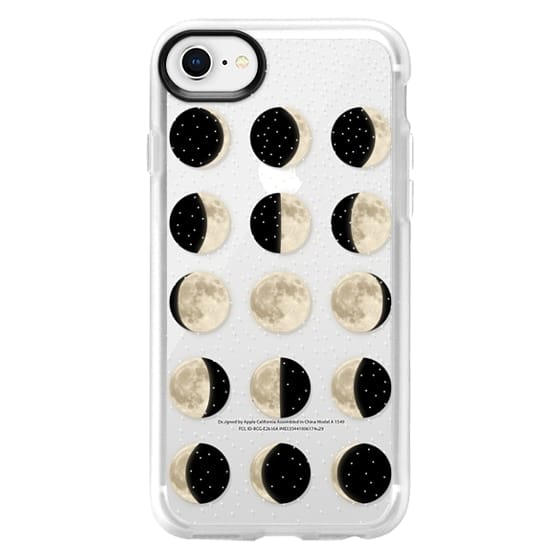 iPhone 8 Cases - Moon Phases on a stary transparent background / shiny moon on black