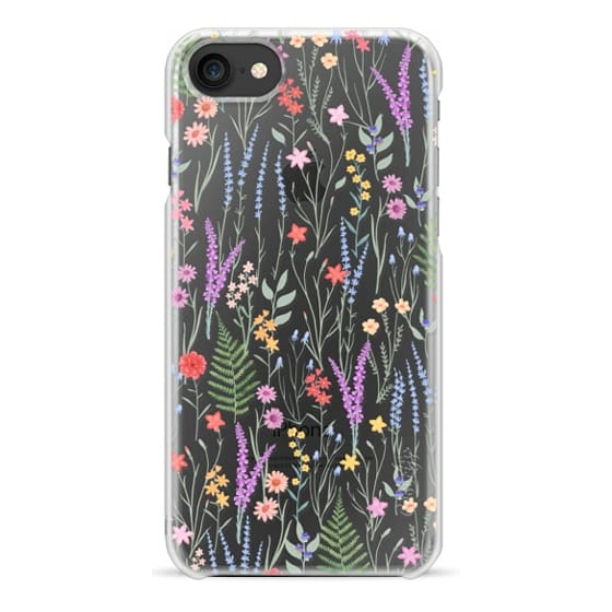 iPhone 7 Coque - the meadow / floral watercolor illustration pattern on clear background