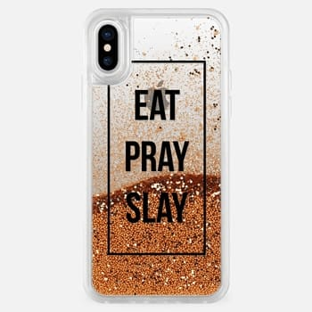 iPhone X ケース Eat, pray, slay! black and white typography on transparent background