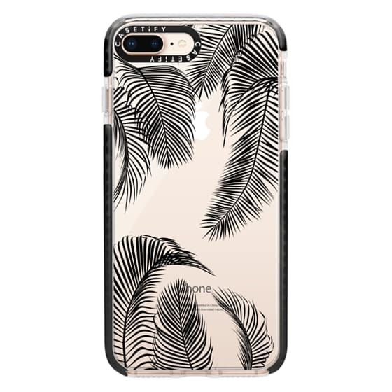 iPhone 8 Plus Cases - Black palm tree leaves tropical jungle pattern with clear background