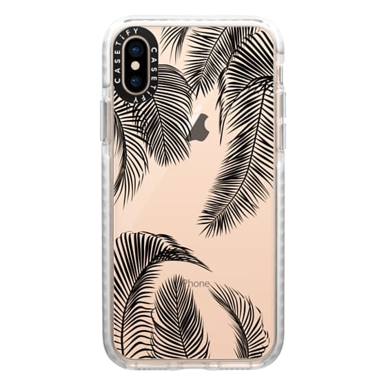 iPhone XS Cases - Black palm tree leaves tropical jungle pattern with clear background
