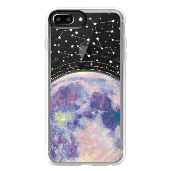 online retailer cb309 5c50e Classic Grip iPhone 7 Plus Case - Blue moon and stars constellations /  galaxy pattern clear background case