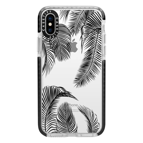 iPhone X Cases - Black palm tree leaves tropical jungle pattern with clear background