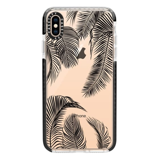 iPhone XS Max Cases - Black palm tree leaves tropical jungle pattern with clear background