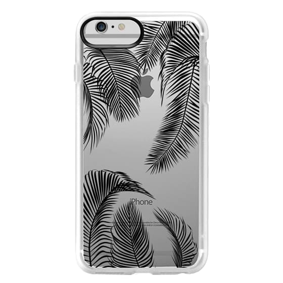 iPhone 6 Plus Cases - Black palm tree leaves tropical jungle pattern with clear background