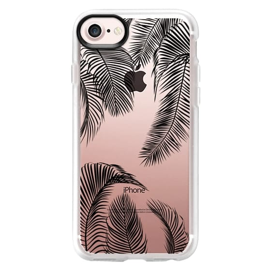 iPhone 7 Cases - Black palm tree leaves tropical jungle pattern with clear background