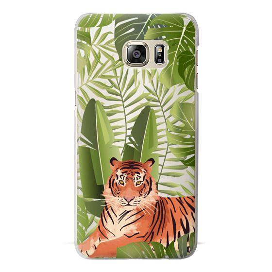 Samsung Galaxy S6 Edge Plus Cases - Wild cat jungle / tiger floral