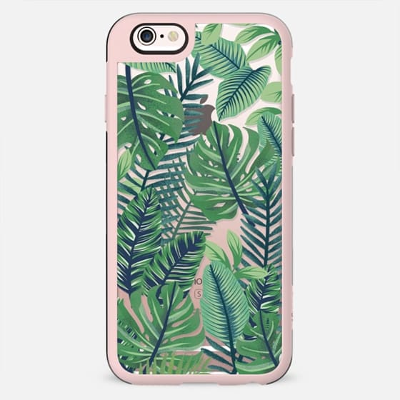 Green jungle floral on transparent background