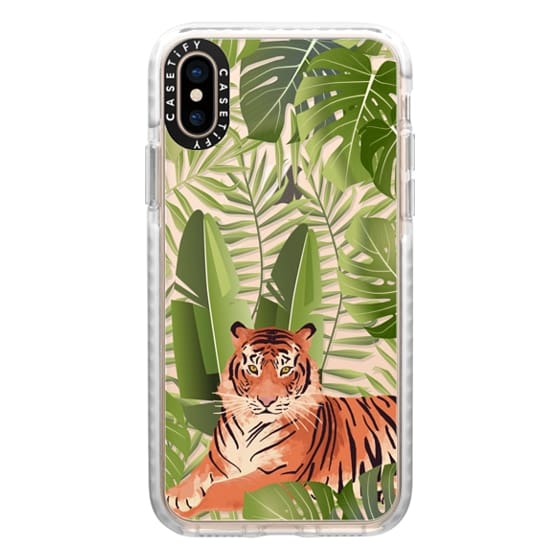 iPhone XS Cases - Wild cat jungle / tiger floral