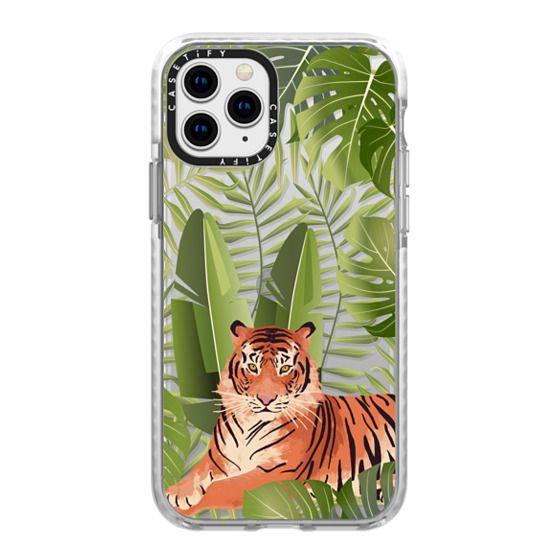 iPhone 11 Pro Cases - Wild cat jungle / tiger floral