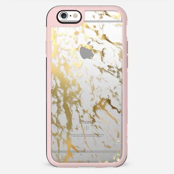 Gold marble pattern splash on transparent / clear background - New Standard Case