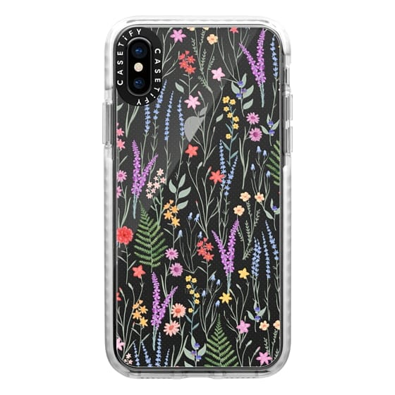 iPhone XS Cases - the meadow / floral watercolor illustration pattern on clear background