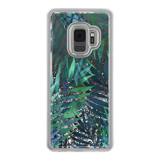 Samsung Galaxy S9 Cases - Green watercolor tropical palm leaves pattern on transparent / clear background