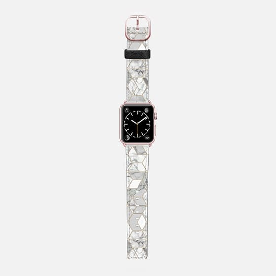 White Marble hexagons geometric pattern in a gold line frame - Saffiano Leather Watch Band