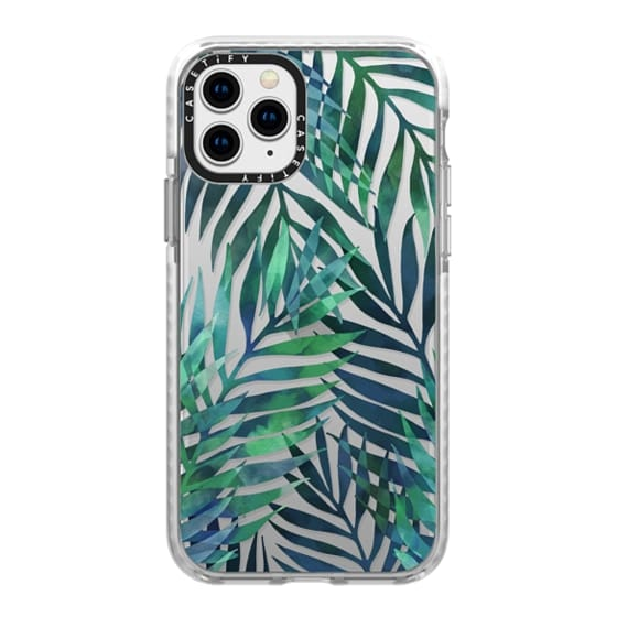 iPhone 11 Pro Cases - Green watercolor tropical palm leaves pattern on transparent / clear background