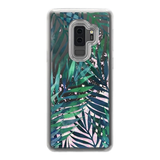 Samsung Galaxy S9 Plus Cases - Green watercolor tropical palm leaves pattern on transparent / clear background
