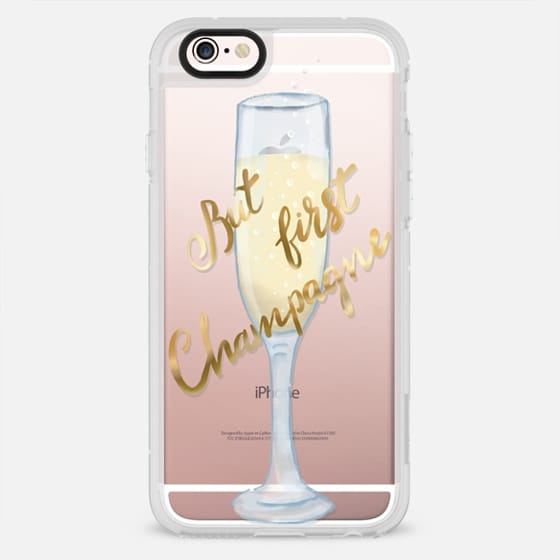 But first champagne - celebration gold typography transparent case - New Standard Case
