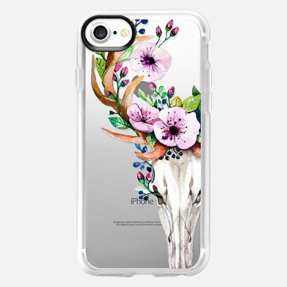 Deer Head Skull and Floral -