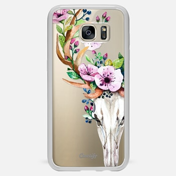 Samsung Galaxy S7 Edge ケース Deer Head Skull and Floral