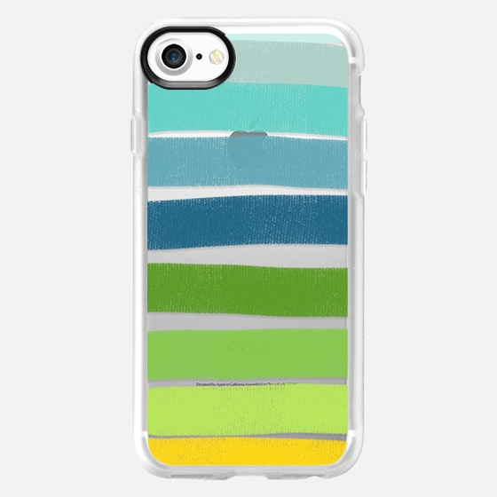 Layered Green Stripes - Wallet Case