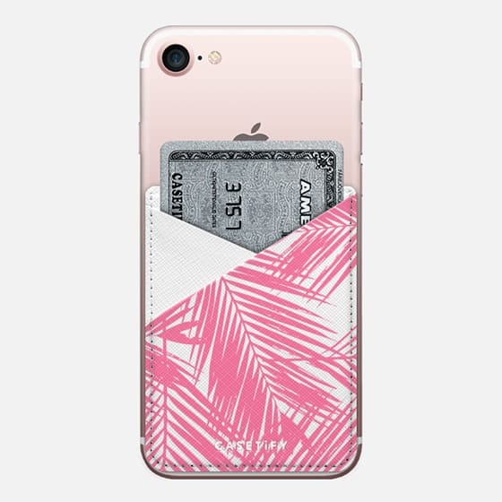 Pink Summer Palms - Saffiano Leather Phone Wallet